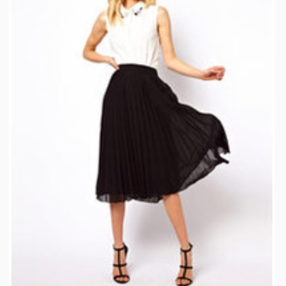 9cf2fe0bf Daniel Rainn Skirts | Black Pleated Chiffon Midi Skirt | Poshmark